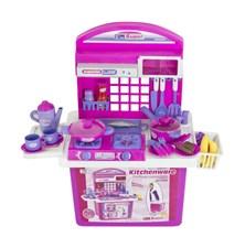 Kuchyňka dětská G21 s příslušenstvím v kufru růžová