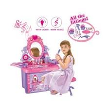 Stolek kosmetický G21 dětský se zrcadlem a zvuky v kufříku