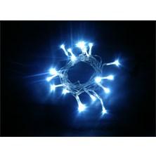 LED vánoční řetěz, 3m, 20xLED, 3x AA, modré světlo, transparentní kabel