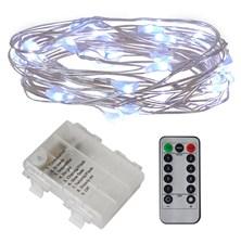 Řetěz vánoční 50 LED, 5m, 3xAA, bílá studená, časovač, voděodolné