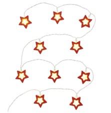 Řetěz vánoční hvězdy dřevěné 10 LED R. WW TM RETLUX RXL285